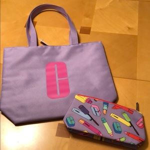 Clinique tote and make up bag